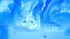 Blå låg poly vibreringsyttersida som tecknad filmbakgrund Blått polygonal geometriskt vibrerande miljö eller pulserar stock illustrationer