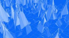 Blå låg poly vibreringsyttersida som tecknad filmlekbakgrund Blått polygonal geometriskt vibrerande miljö eller pulserar royaltyfri illustrationer