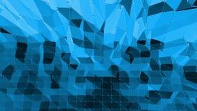 Blå låg poly vinkande yttersida som stor bakgrund Blå polygonal geometrisk vibrerande miljö- eller pulserarbakgrund lager videofilmer