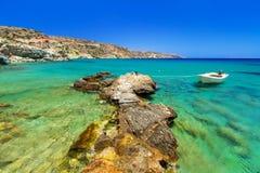 Blå lagun av den Vai stranden på Crete Arkivfoton