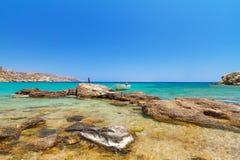 Blå lagun av den Vai stranden på Kreta Royaltyfri Fotografi