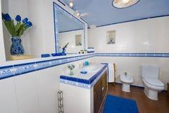 blå lantlig white för badrum arkivbilder