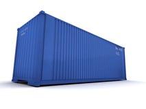 blå lastbehållare Royaltyfri Fotografi