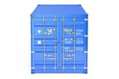 Blå lastbehållare, främre sikt framförande 3d Arkivbilder
