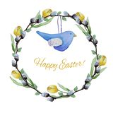 Blå leksakfågel och pussy-pil tulpankrans royaltyfri illustrationer
