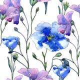 Blå linblomma Blom- botanisk blomma Seamless bakgrund mönstrar Arkivbilder