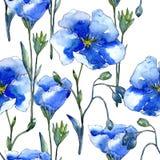 Blå linblomma Blom- botanisk blomma Seamless bakgrund mönstrar Royaltyfri Foto