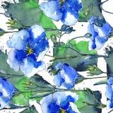 Blå linblomma Blom- botanisk blomma Seamless bakgrund mönstrar Fotografering för Bildbyråer