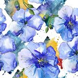 Blå linblomma Blom- botanisk blomma Seamless bakgrund mönstrar Arkivfoto