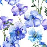 Blå linblomma Blom- botanisk blomma Seamless bakgrund mönstrar Arkivfoton
