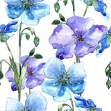 Blå linblomma Blom- botanisk blomma Seamless bakgrund mönstrar Royaltyfria Bilder