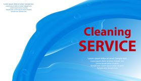 Blå lokalvård- eller tvätteriservice och vit bakgrund med en färgstänk av vatten Affisch eller baner för renlighet vektor royaltyfri illustrationer