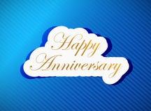 blå lycklig årsdagkortillustration Royaltyfri Fotografi