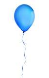 Blå lycklig ballong för ferieluftflyg som isoleras på vit Royaltyfri Foto