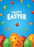 Blå lycklig påskaffisch med färgrika ägg Fallande illustration för vektor för bakgrund för påskägg arkivfoto