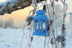 Blå lykta i vinterlandskap Arkivbild