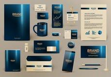 Blå lyxig mall för företags identitet Royaltyfria Foton
