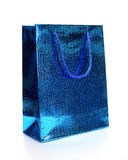 Blå lyxig shoppingpåse Royaltyfria Bilder