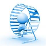 Blå mänsklig spring för tecken 3d i ett hamsterhjul Royaltyfri Bild