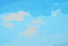 Blå målad bakgrund för olje- färg Royaltyfri Bild