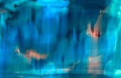 Blå målarfärg som smetas med körningar Royaltyfri Bild
