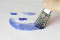 blå målning Arkivbilder