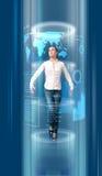 blå mörk framtida portal till Arkivfoto