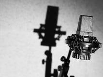 blå mörk ljus mikrofonstudio Svart mikrofon för solid inspelning royaltyfri foto
