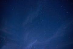 Blå mörk natthimmel med många stjärnor Fotografering för Bildbyråer