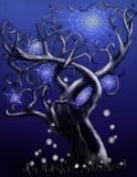 blå magical spindeltree royaltyfri illustrationer