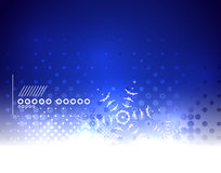 Blå magisk himmel- och snöflingavinterbakgrund Royaltyfri Bild
