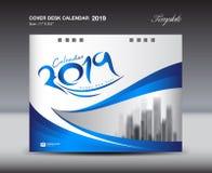 Blå mall för design för räkningsskrivbordkalender 2019, reklambladmall, annonser, häfte, katalog, informationsblad, bokorienterin royaltyfri illustrationer