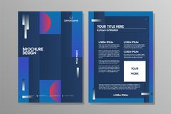Blå mall för marinabstrakt begreppbroschyr för affärsreklambladet eller sporten Leflet stock illustrationer