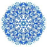 Blå mandala för vattenfärg Royaltyfria Bilder