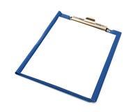 Blå mapp med det vita arket på det Fotografering för Bildbyråer