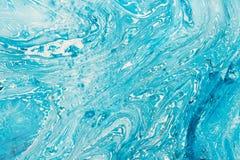 Blå marmara textur Abstrakt bakgrund med idérik olja målade vågor Arkivbilder
