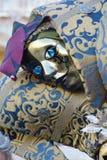 Blå maskering i Venedig, Italien, Europa, slut upp Arkivfoto