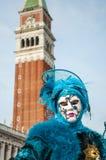 blå maskering venice Royaltyfri Fotografi