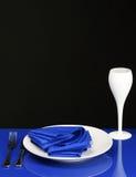 blå matställetabell Arkivbild