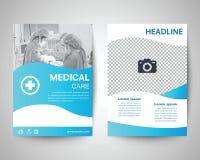 Blå medicinsk mall för reklamblad a4 Royaltyfri Bild