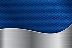 Blå metall perforerad bakgrund med rostfritt stålvågen vektor illustrationer