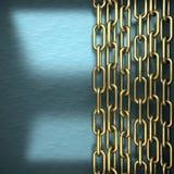 Blå metallbakgrund med den gula beståndsdelen Royaltyfri Fotografi