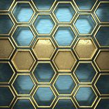 Blå metallbakgrund med den gula beståndsdelen Royaltyfria Foton