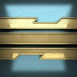 Blå metallbakgrund med den gula beståndsdelen Royaltyfri Foto