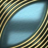 Blå metallbakgrund med den gula beståndsdelen Royaltyfri Bild