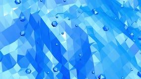 Blå metallisk låg poly vinkande yttersida som livlig miljö Blått polygonal geometriskt vibrerande miljö eller pulserar stock video