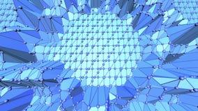 Blå metallisk låg poly vinkande yttersida som paysage i videospel Blå polygonal geometrisk vibrerande miljö eller arkivfilmer
