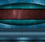 blå metalltextur för bakgrund Arkivbilder