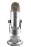 Blå mikrofon för snömanPodcastkondensator arkivfoton