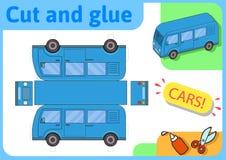 Blå minibusspappersmodell Litet hem- hantverkprojekt, papperslek Klipp ut, vik och limma Utklipp för barn vektor stock illustrationer